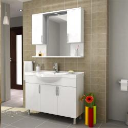 100 cm MDF Yüksek Kalite Banyo Dolabı+Seramik Lavabo +Dekoratif Ayna