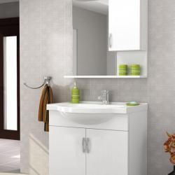 65cm MDF Yüksek Kalite Banyo Dolabı+Seramik Lavabo +Dekoratif Ayna