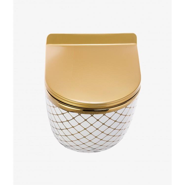 Geometrik Beyaz Altın Kanalsız Asma Klozet